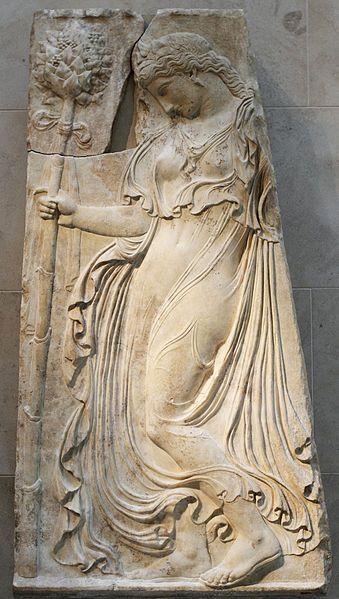 Dancing Maenad, Roman relief (marble), copy after Greek original, 1st century BC - 1st century AD, (original 5th c. BC), (Metropolitan Museum of Art, New York).