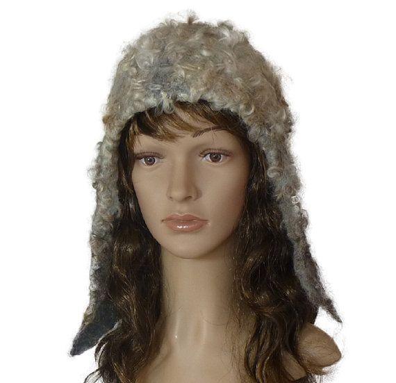 A ear flap style hat, wonderful hat, felted hat, handmade hat, with fleece, Lincoln fleece, wool, stylish