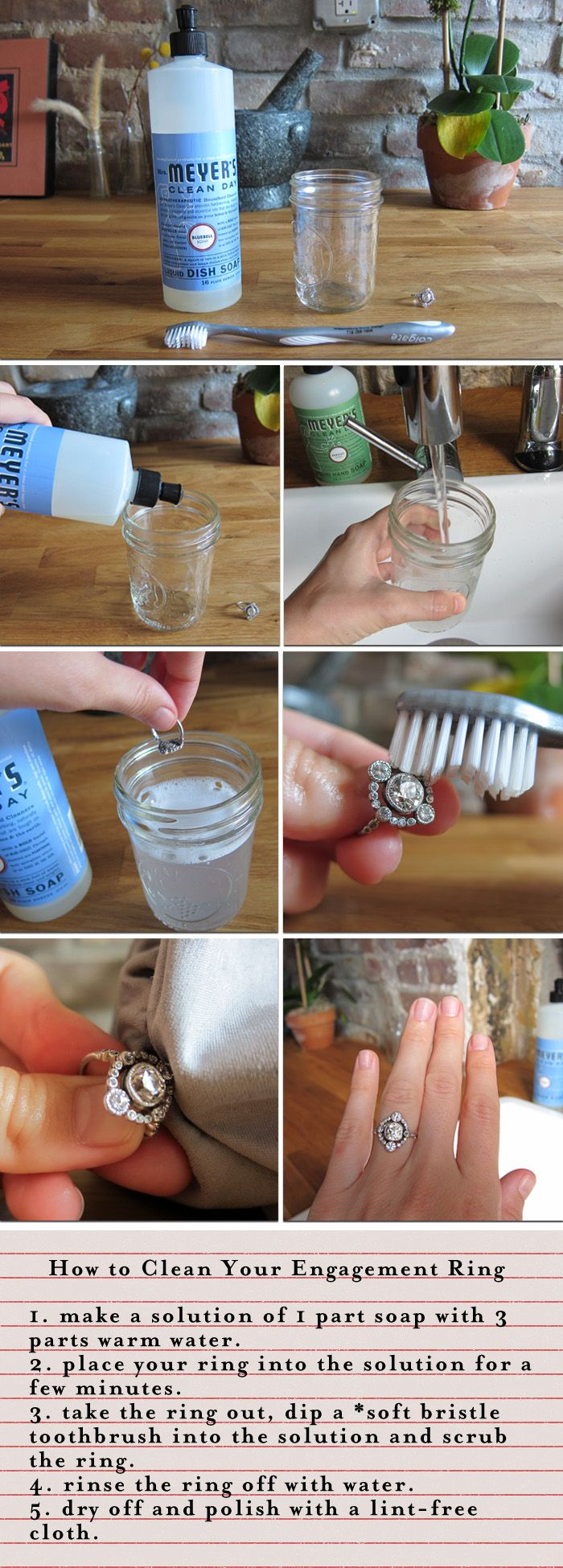 how to clean your engagement ring (or in my case, any fine jewelry).