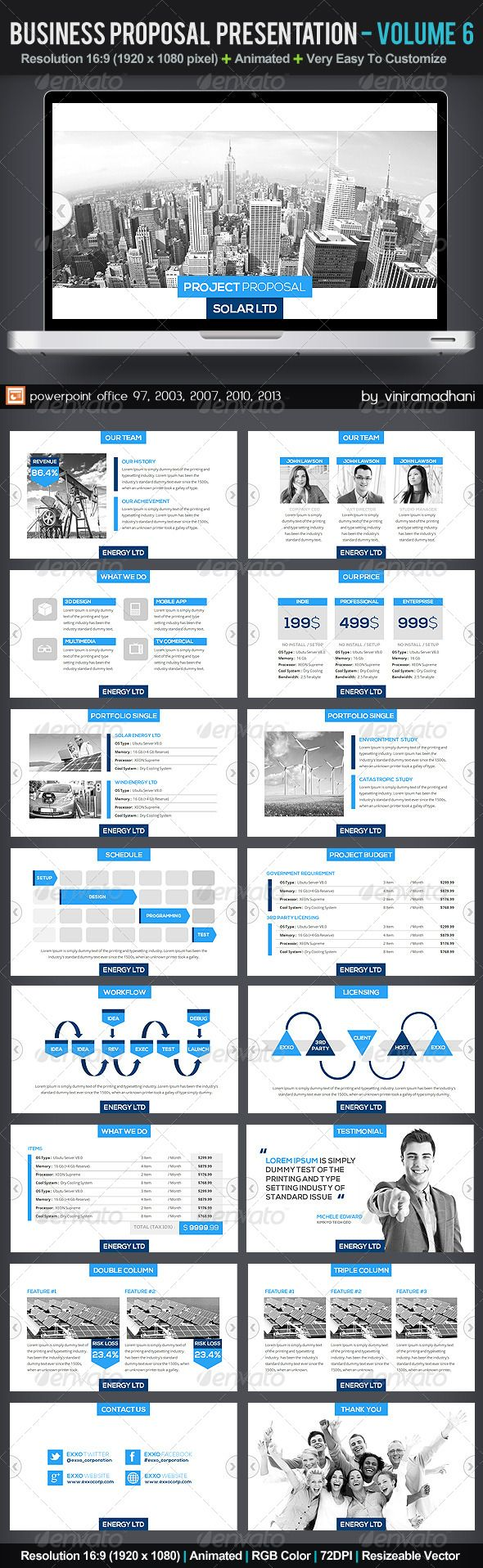 Business Proposal Presentation   Volume 6 #GraphicRiver Specs : All Icon Included microsoft office powerpoint 97, 2003, 2007, 2010, 2013 Format ppt, pptx, ppsx Resolution 16:9 Size 1920×1080 pixel Color RGB Photo not included on download files Fonts : Nexa Free Font: .fontfabric /nexa-free-font/ Open Sans : .google /fonts/specimen/Open+Sans Created: 22October13 PixelDimensions: 1920x1080 PresentationFilesIncluded: PowerpointPPT #PowerpointPPTX #JPGImage Tags: annualreport #business…