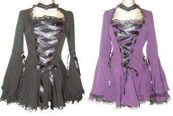 I found 'Lace Gothic Corset Lace Vampire Twilight Bell Sleeve Top in two Classic Colours in Sizes 10-28' on Wish, check it out!