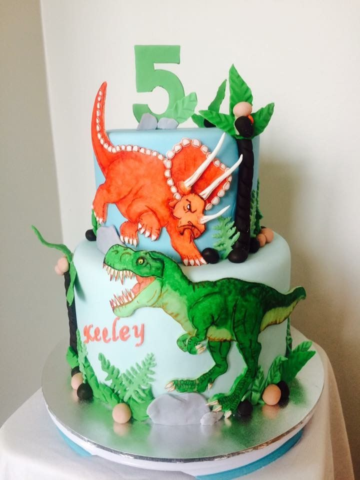 Dinosaur Birthday Cake T Rex Triceratops With Images