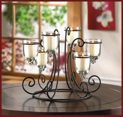 Wrought Iron Candleholder - Living Room Decor - Add your favorite candles and enjoy the beauty of this candle holder in any room and for any occasion. www.mysouthernhomeplace.com