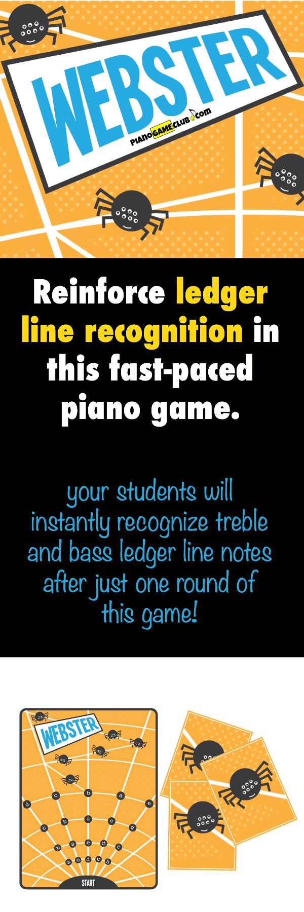 If you have piano students who struggle with reading ledger lines this is the piano game for them! Grab it as a part of August's game set (4 games for just $8!) www.pianogameclub.com