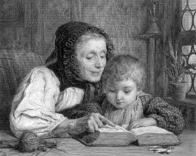 """""""Reading lesson"""", 1880. Albert Anker (1831-1910)"""