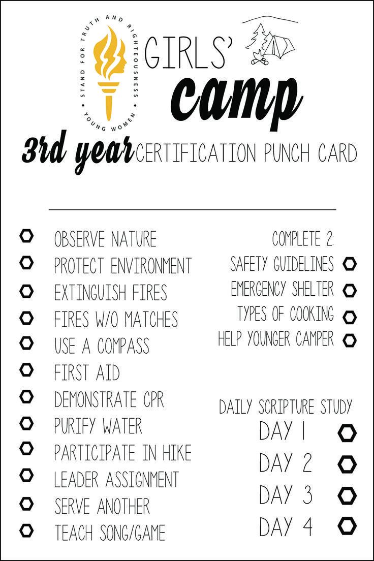 Best 25 girls camp certification ideas on pinterest girls camp free lds girls camp certification cards 3rd year xflitez Gallery