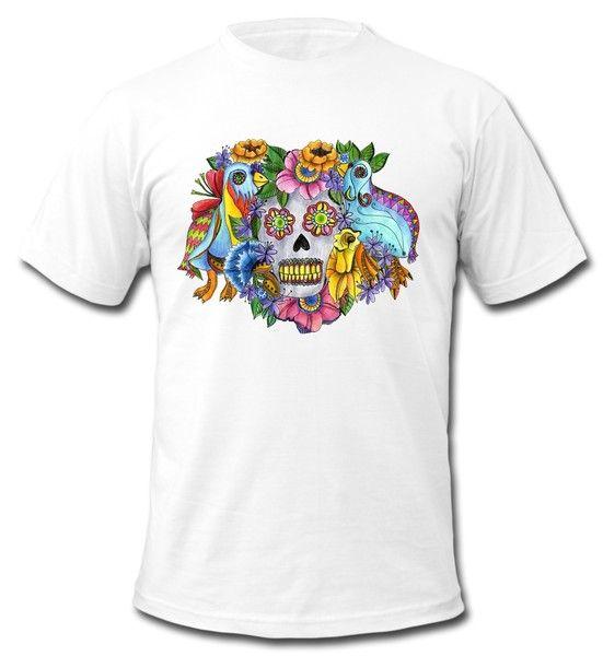 T shirt con teschio messicano multicolore / Drawings to wear su DaWanda.com