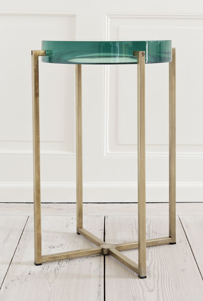 McCollin Bryan, 2000s, United Kingdom  Tinted lens table with acrylic top and brass base.  The Apartment