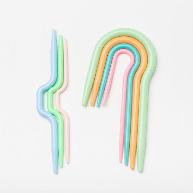 7 unids 2 Sets de Plástico ABS de Punto Cable Stitch Knitting needles Needles Smooth U Crochet Hook & L Agujas