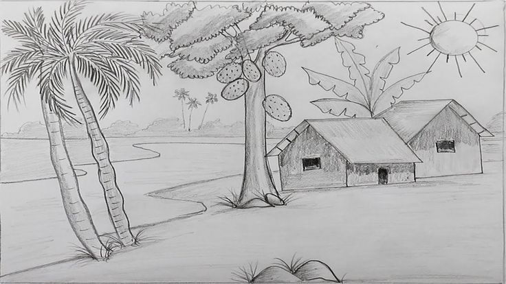 How To Draw A Village Landscape Step By Step With Pencil