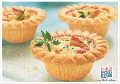 Bacon and Double Cheese Quiche Mini Tarts from www.MapleLeaf.com