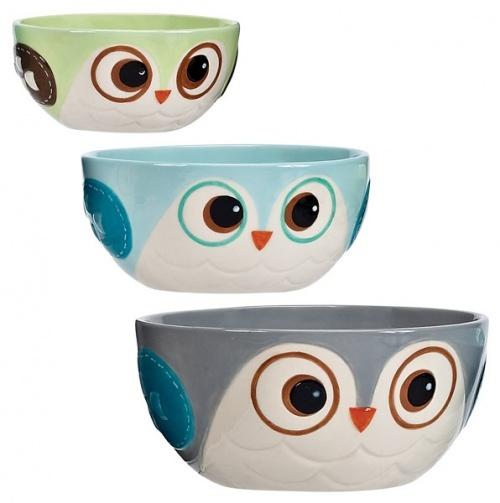 Snowy Owls Prep Bowl 3Pc Set - Creative Ideas for Home Entertaining $10