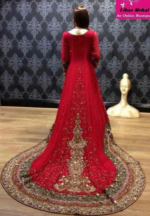 Pakistani wedding dress with a heavy border on the train