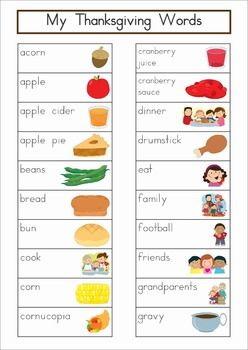 Thanksgiving Vocabulary Word Wall Words {60 words}. Includes a personal word wall for students, a file-folder word wall for the writing or word work center and large cards for the classroom wall in color and black and white. ALSO comes with several different word wall worksheets. This would make a cute Write the Room activity too!