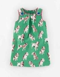 Green Photographic Dogs Twill Button Pinafore Dress
