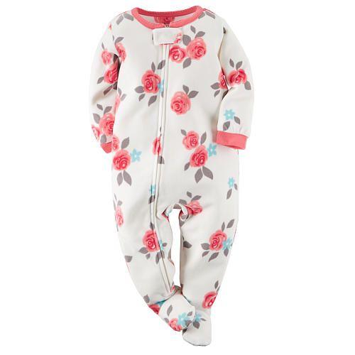 "Carter's Girls Ivory Rose Allover Printed Zip Up Fleece Footed Blanket Sleeper - Carters - Babies ""R"" Us"