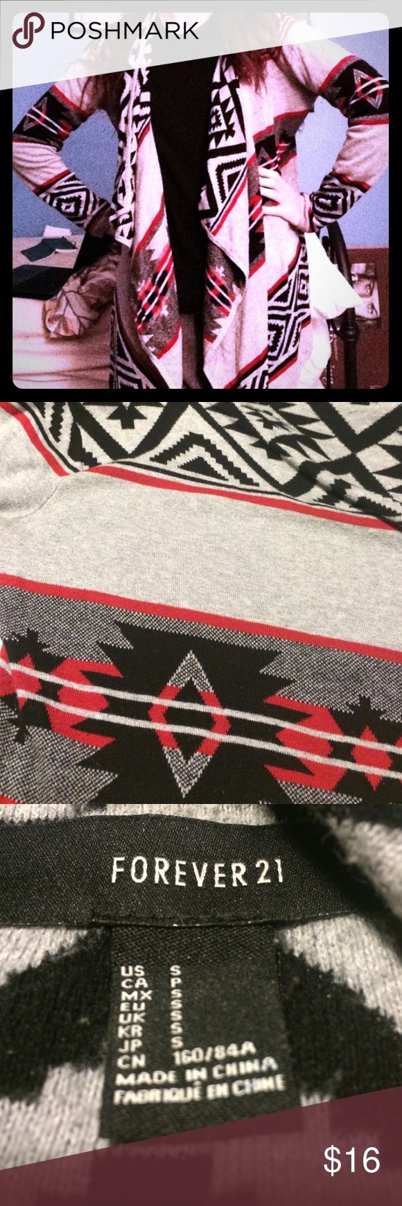 Aztec comfy open sweater Trendy Aztec print sweater. Open cardigan style with longer front opening. Super comfy and can fit sizes small and medium due to style. I wore this numerous times last season and have just grown tired of it so it needs a new home. Shows some signs of pilling but overall in good condition. You will love this cozy sweater with leggings and boots! Red black and gray. Forever 21 Sweaters