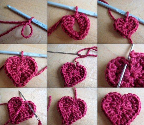 Making a crochet heart