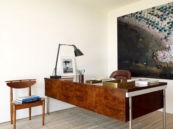 Study in a modernist beach house in the Hamptons by Robert Stilin