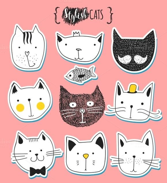 Set of cute doodle cats stickers by Modern vector on @creativework247