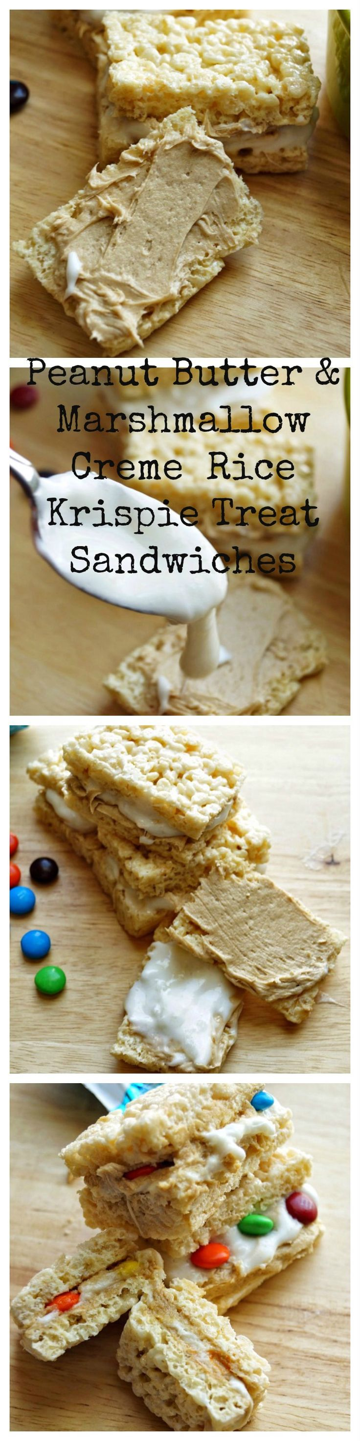 Fluffer Nutter Rice Krispie Treat sandwiches! Peanut butter and homemade marshmallow Creme made in the microwave! #ad #kreatemyhappy