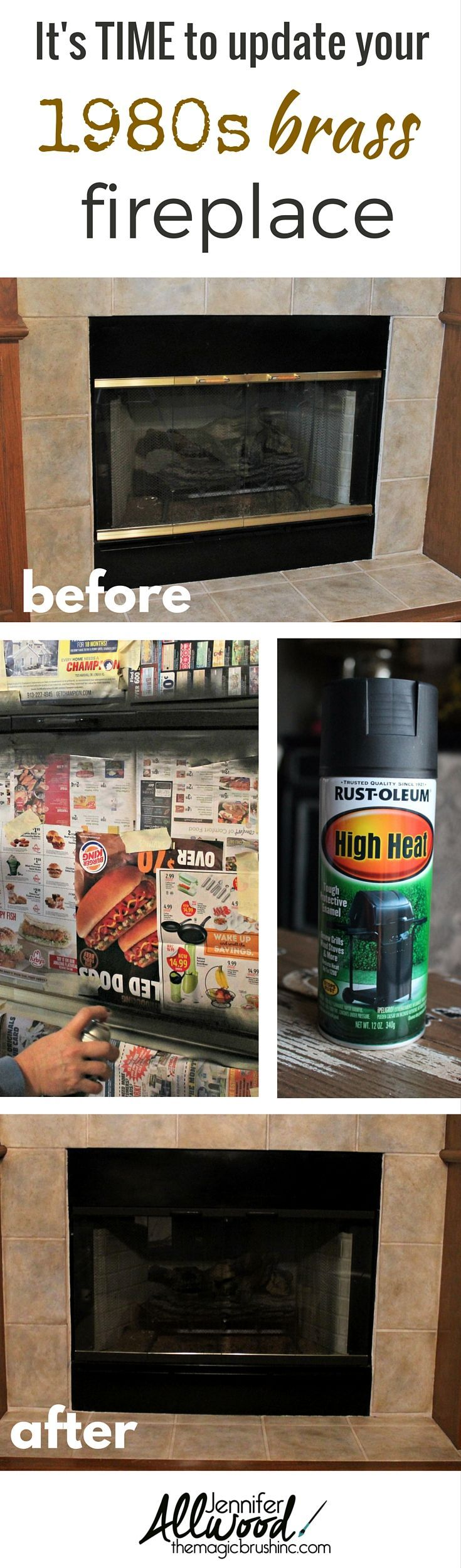 It's time to update your 1980s brass fireplace surround! It's an easy spray paint project and one of the best home updates with a huge impact in your living room! More painting tips, DIY projects and decorating advice at theMagicBrushinc.com