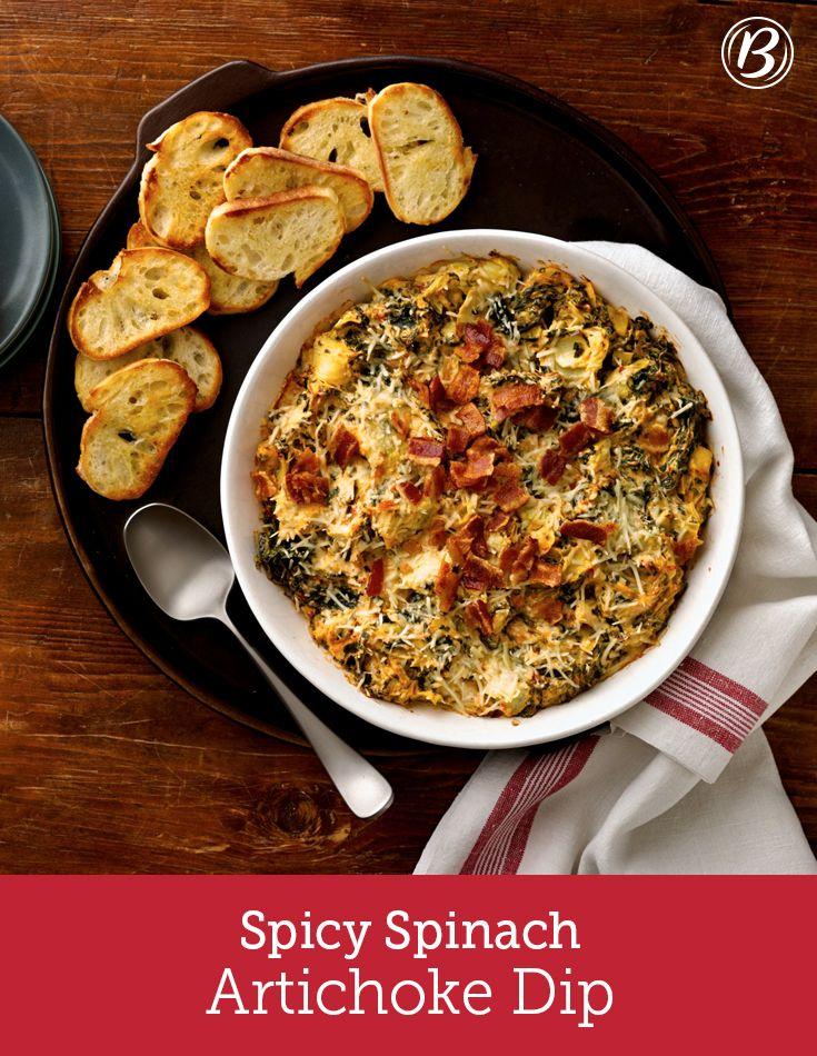 Spicy Spinach Artichoke Dip | Recipe | Cream cheeses, Bacon and ...
