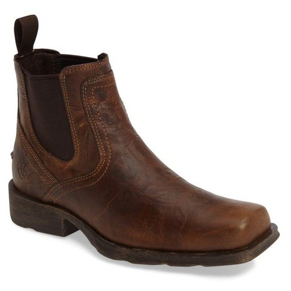 Men's Ariat Midtown Rambler Mid Chelsea Boot (2,630 MXN) ❤ liked on Polyvore featuring men's fashion, men's shoes, men's boots, barn brown, mens rugged shoes, ariat mens boots, mens brown boots, mens chelsea boots and mens brown shoes