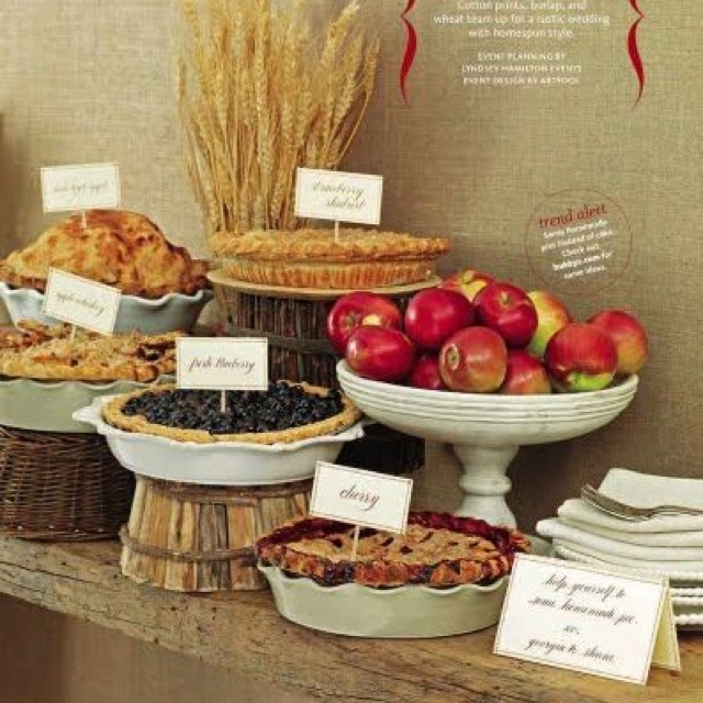 Pie Table. Love The Use Of Baskets As Pie Stands!
