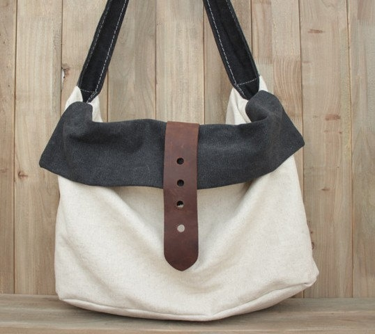 White-black Leather-canvas tote /Leather bag/Canvas bag /Shopping bag/ Stitch bag/Shoulder bag/iPad bag. $69,00, via Etsy.