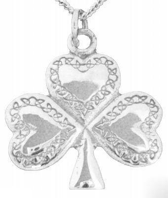 Silver Celtic Shamrock Pendant Necklace - Jewelry