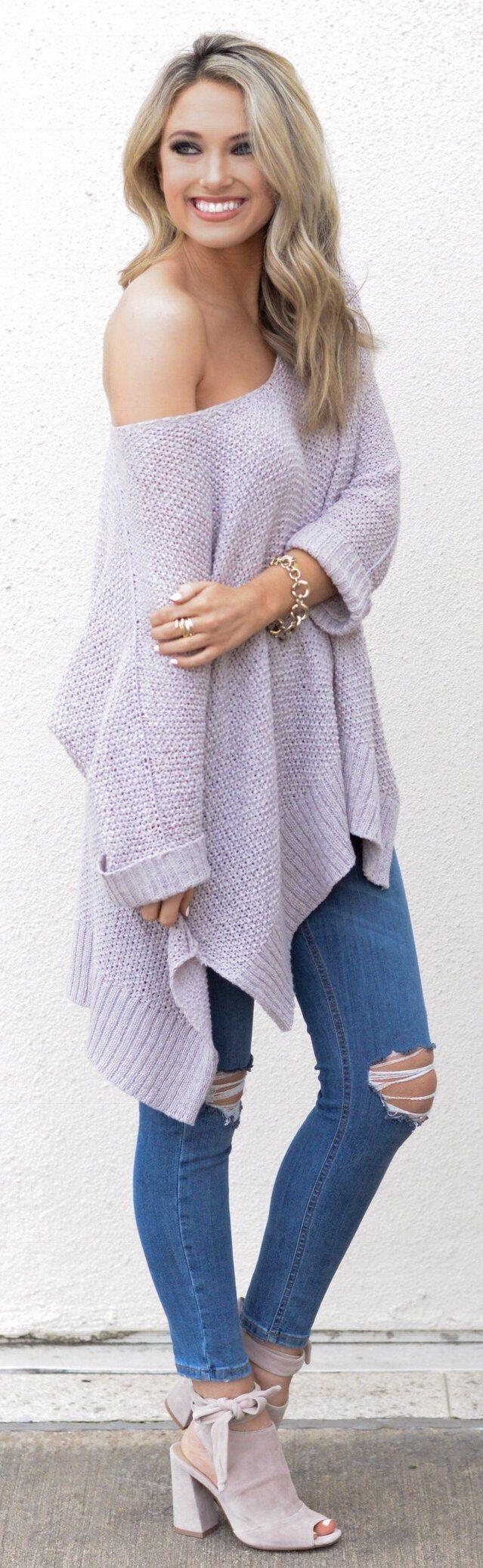 Light Purple Off Shoulder Knit / Ripped Skinny Jeans / Grey Open Toe Booties