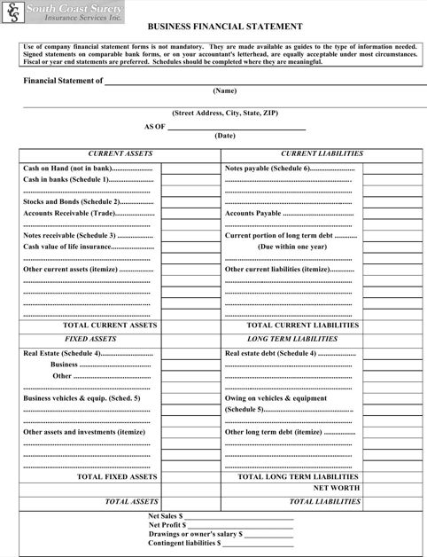 business financial statement template