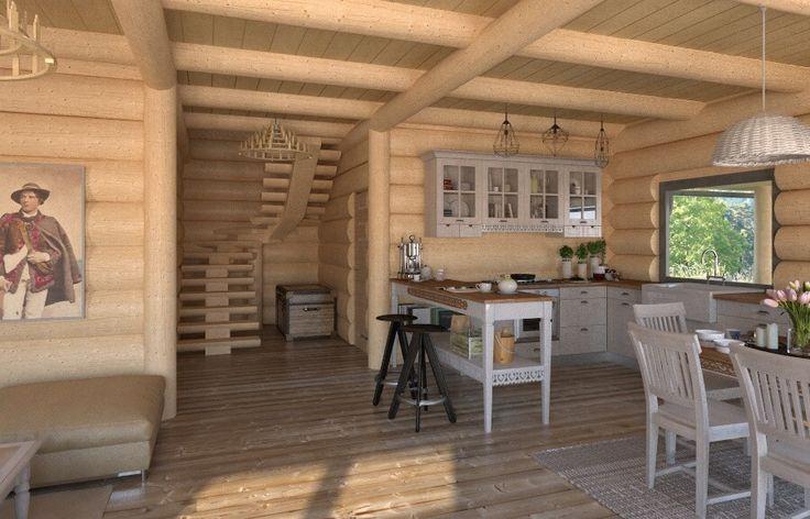 Salon w domu z bali  Zobacz więcej na www.babiebale.net