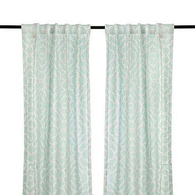 Cannes Aqua Curtain Panel Set, 108 In