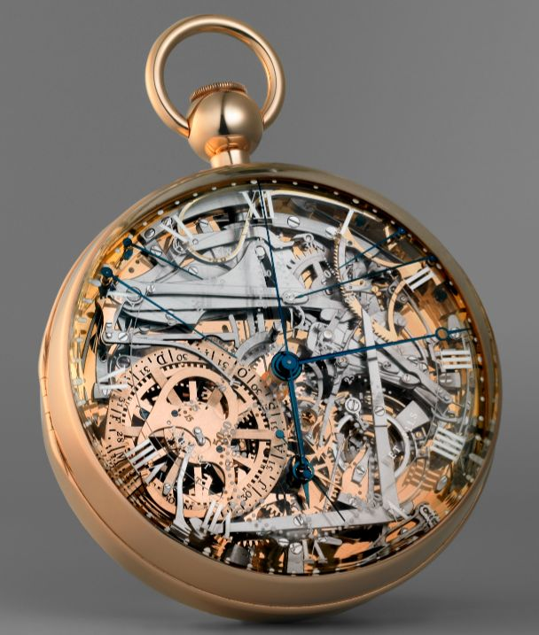 hypnovoyeur:  Marie Antoinette's gold Breguet pocket watch, ca. 1827. It took 44 years to complete after it was first commissioned in 1793. Marie Antoinette never saw the watch through to its completion, as she was sent to the guillotine 10 years before its completion. It is referred to as the Queen/Mona Lisa of watches.