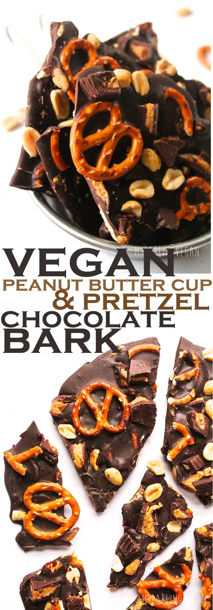 A decadent and easy Peanut Butter Cup and Pretzel Chocolate Bark that you won't believe is vegan. Click the photo for the full recipe.