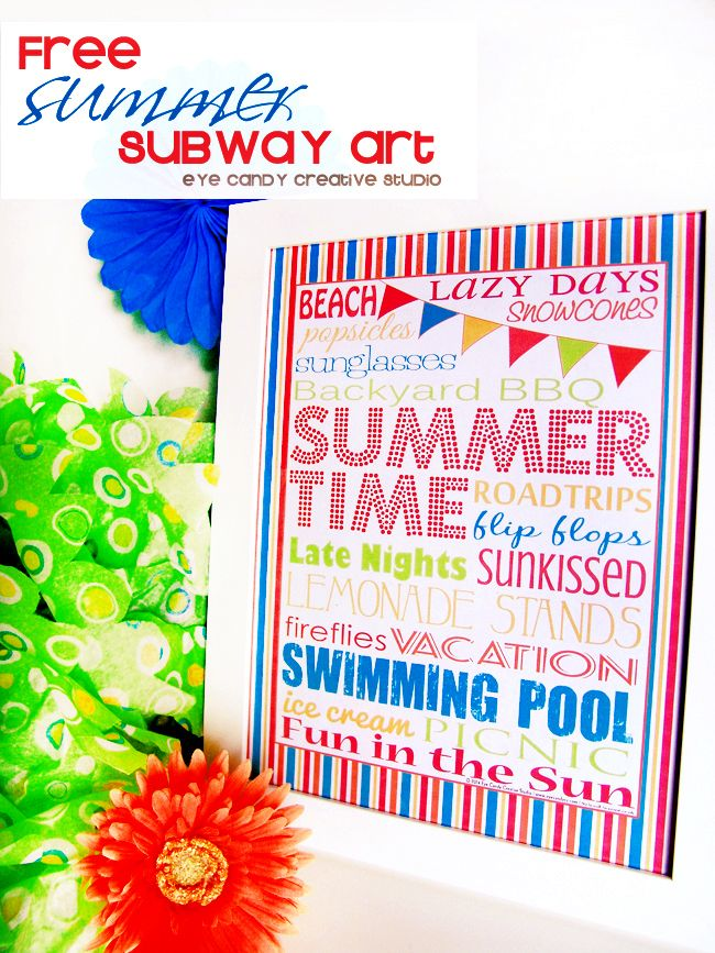FREEBIE- SUMMER Subway Art @eyecandycreate #summer #summersubwayart