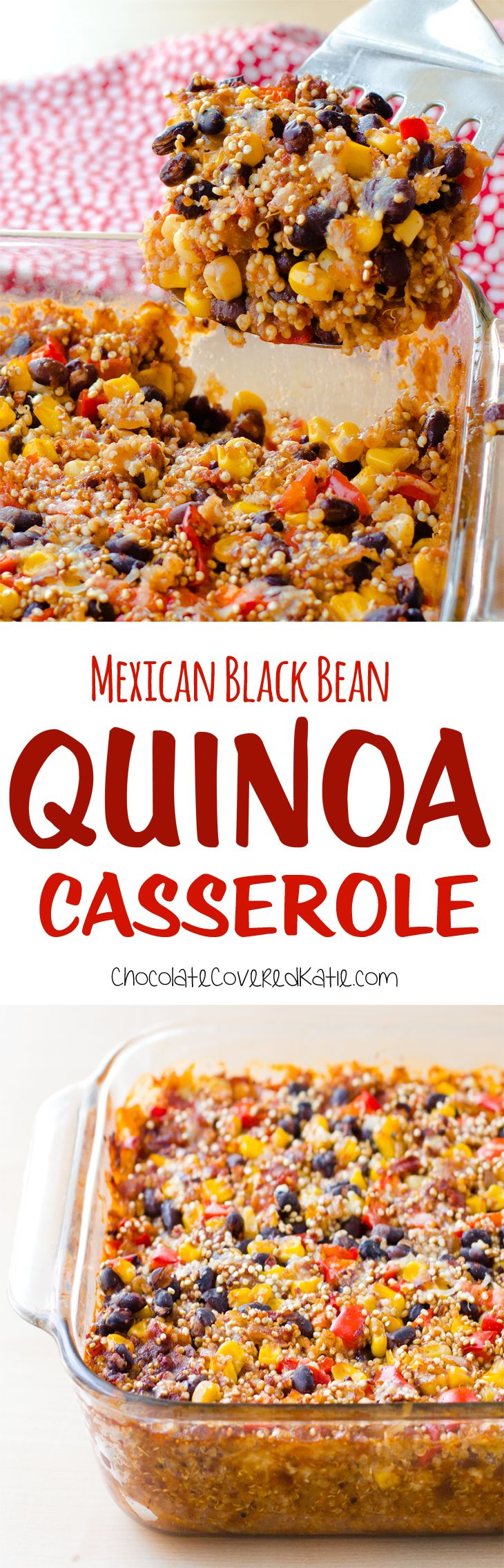 Super easy to make & healthy quinoa casserole, just mix the ingredients together and throw it in the oven! Full recipe: http://chocolatecoveredkatie.com/2016/09/19/quinoa-casserole-mexican-black-bean/ @choccoveredkt