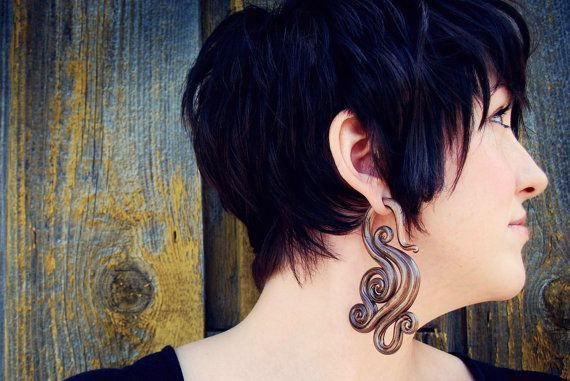 Golden Phoenix Gauged Earrings - beautiful, but I would never wear polymer clay against my skin for long periods of time