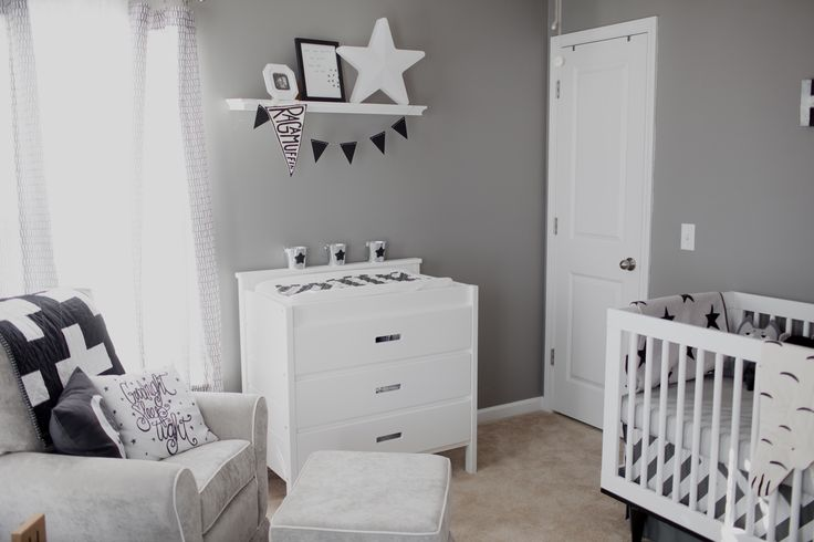 I like the overall style of this room with the grey glider and walls and white furniture. I would use a few pops of colour in the accessories and bedding to soften things up.