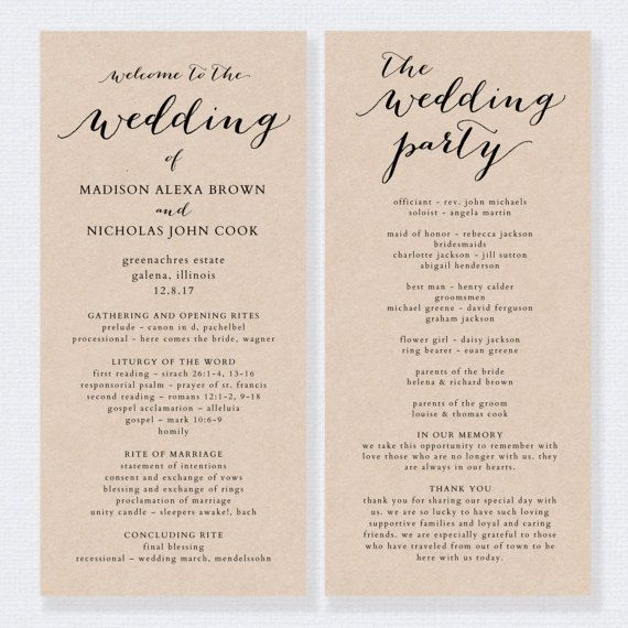 The  Best Wedding Program Template Word Ideas On