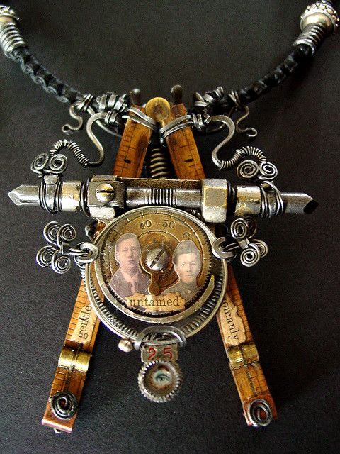 Artist Jill Shulse: she is so talented.  Steampunk, necklace, industrial, compass, recycled, jewelry, memories, heirloom, mechanical