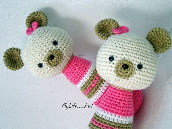 Teddy Bear Twins Baby Rattles Pink Cream Beige by mylifeami, €65.00