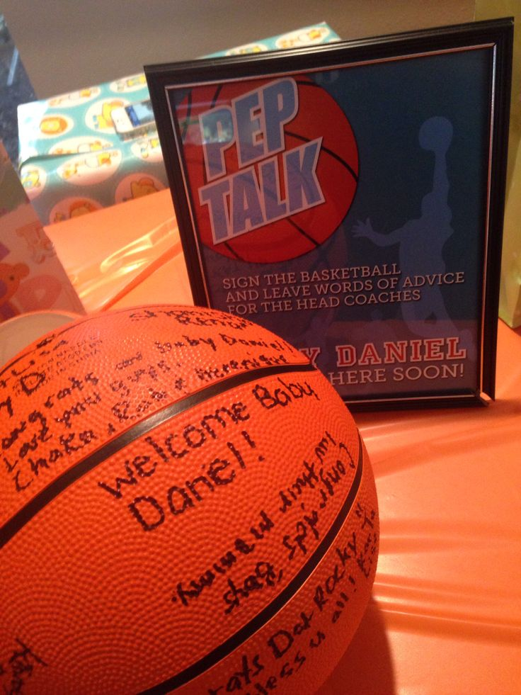 Basketball baby shower sign in ball