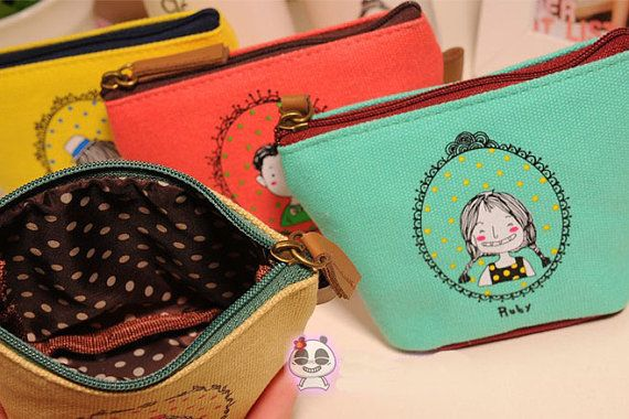 ruby   wallet/ coin wallet/korean style coin wallet /canvas wallet /handmade pouch