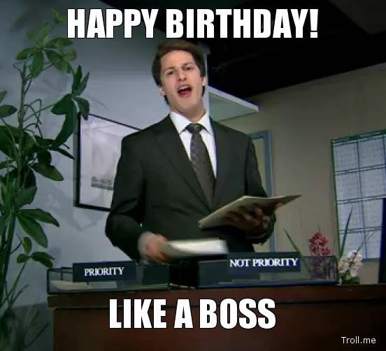 Like A Boss - Funny Happy Birthday Picture