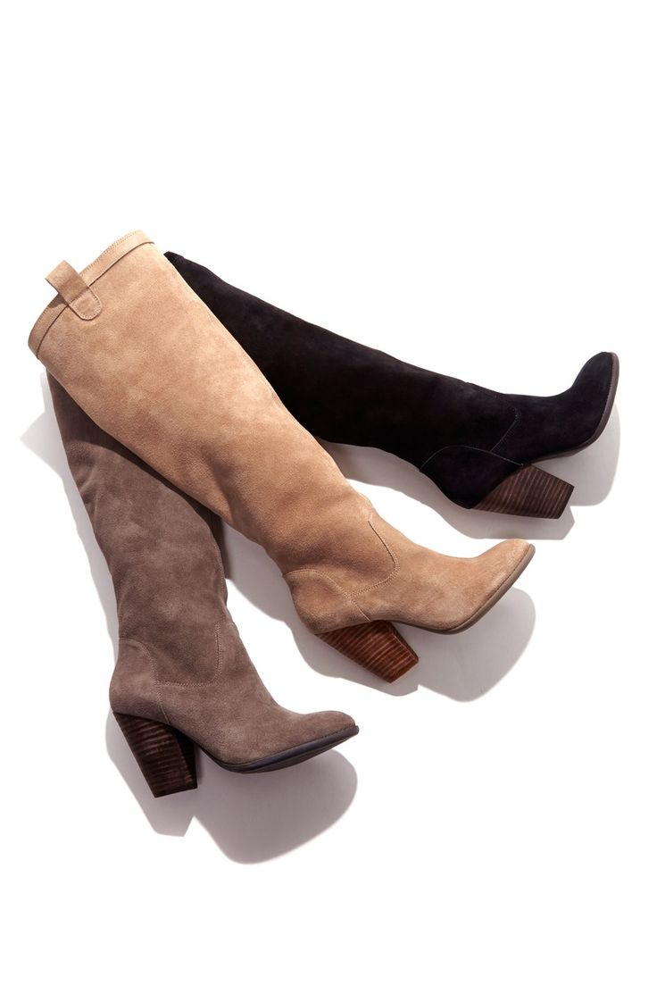 Boot Season: Soft suede and slouchy knee-high boots with a rounded toe, stacked heel and pull on tabs. Unlined for that effortlessly slouchy silhouette.