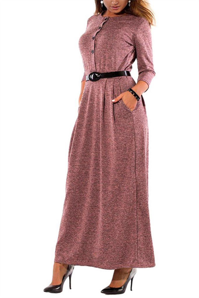 5ec1a7d32c Plus Size Button Pocket Long Sleeve Maxi Dress – WHATWEARS