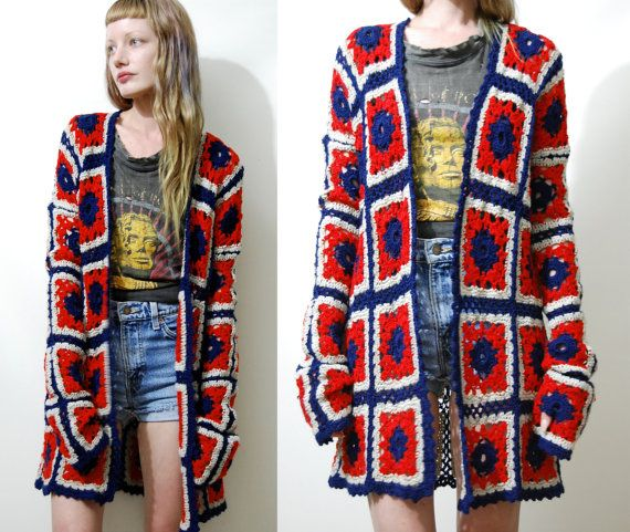 CROCHET Cardigan Granny Square JACKET Wool Navy Blue Red Long Sleeve Knit Knitted Caot 70s Vintage Bohemian boho Hippie Gypsy xs s
